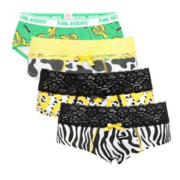 27d0557ad3 New 4pcs lot Women Underwear Briefs Classic Cartoon Printed Cotton Lace  Couple Triangle Underpants Sexy Panties Women 2017