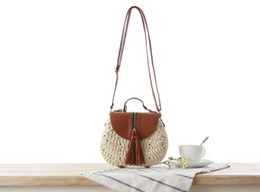 PaPer woven bags online shopping - New paper rope woven bag small fresh sloping straw beach bag holiday shoulder bag