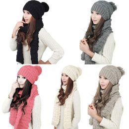 Scarf Shops Australia - Fashion Winter Hat Scarf Cute Knit Crochet Beanies Cap Hats For Women Warm Scarf And Hat Twist Knitted Shop High Qu XRQ88