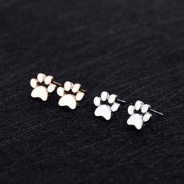 Wholesale Fashion Jewelry Dog Paws Canada - Cute Cat and Dog Paw Stud Earrings Ear Jewelry Earrings For Women Fashion Statement Jewelry Gifts Free shipping