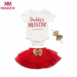 Valentine headbands online shopping - 3Pcs Newborn Infant Baby Girl DADDY s Valentine Letter Romper Tops tutu Skirt Headband Valentine s Day Outfits Set Baby gifts