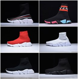 Stretch Knit Fabrics Canada - Paris Designer Speed Trainer Stretch Knit Mid Black White Fashion Top Sneakers Breathable Socks Shoes Men and women Casual Shoes 35-46