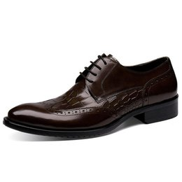 c5b313a476a Vintage Luxury Brand Man Brogue Shoes Genuine Leather Formal Dress Oxfords  British Round Toe Men s Wing Tip Carved Flats HJ72