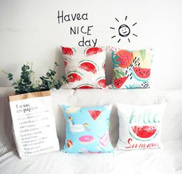 tropical print 2019 - Summer Tropical Watermelon Pillow Case Pillowcase Decorating Home Sofa Decor Creative Pillow Case Cushion Cover 45*45cm