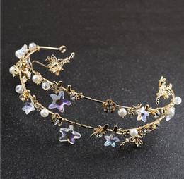 starfish wedding hair 2018 - New bride jewelry accessories, wedding dress accessories, handmade five angle starfish hoop crown ornament cheap starfis