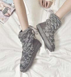 Korean Knit Fabric Canada - European and American women's snow boots, Korean knitted wool yarn, winter high tube grey wholesale cotton shoes