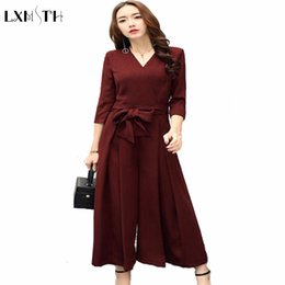 elegant plus size rompers Canada - Korean Women's Wide leg jumpsuit New Arrival Elegant V-Neck Belted Slim Rompers Womens jumpsuit 2018 Long Pants Plus Size S-3XL