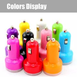$enCountryForm.capitalKeyWord NZ - Colorful Mini Car Charger 2 ports Cigarette Port 2.1A Micro auto power Adapter for gps mp3 speaker headphone for mobile phone DHL