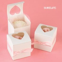 pvc box clear cake 2018 - 60pcs Clear Heart Pvc Window Paper Single Cupcake Cake Box Wedding Favor Gift Boxes For Candy Wedding Favors And Gifts B