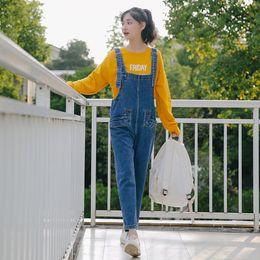 84519e1aa27 New Arrived Autumn Women Wide Leg Loose Denim Overalls Casual Jumpsuit  Boyfriend Style Pockets Jeans Romper 3237