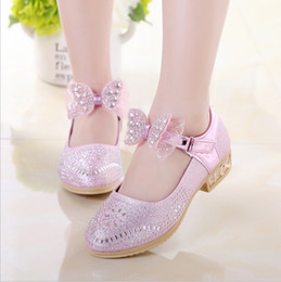 2018 new girls shoes high heels children princess shoes Korean crystal bow  show single tide eb36dc29a711