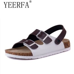 e41339a9e45f YEERFA 2017 Summer Men Sandals Cork Shoes Slippers Casual Outdoor Shoes  Flats Buckle Fashion Beach Shoes Slides Plus Size 39-43