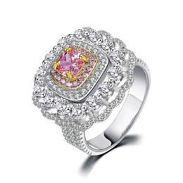 Wholesale Sterling Silver Bridal Rings UK - Vintage Rings For Women S925 Sterling Silver Luxury Big Square Topaz Ring Bridal Wedding Fine Jewelry Accessories Bijoux