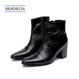 designer oxford shoes 2018 - 2018 Designer New Italian Genuine Leather Men Ankle Boots Fashion High Heel Men Dress Boots Pointed Toe Motorcycle Boots