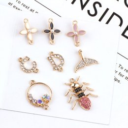 Wholesale Enameled rhinestone Clover Tail of fish spider charm pendant bracelet necklace charn jewelry findings