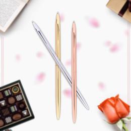 $enCountryForm.capitalKeyWord Australia - Mini 0.5mm Metal Brass Ballpoint Pen Rotate Gold Sliver Color Luxury Pen Black Ink Color Office School Writing Stationery