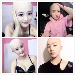 Full human mask online shopping - 2018 New human mask crossdress silicone female unisex head mask halloween cosplay without hair latex bareheaded monk head mask
