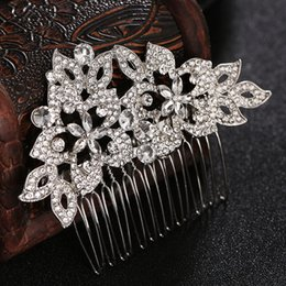 Silver Hairpiece NZ - Fashion Bridal Hair Combs Silver Color Austrian Crystal Flower Bride Hairpins Wedding Hair Accessories Hairpieces Jewelry JCH166