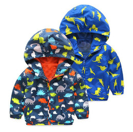 Discount spring cartoon jackets - Kids dinosaur Hoodies Autumn cartoon Tench coats baby Boys Outwear Sport Jackets 3 colors Clothing B11