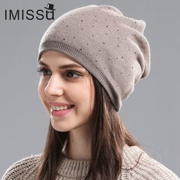 Beanies For Winter Australia - IMISSU Women's Winter Hat Knitted Wool Beanie Female Fashion Skullies Casual Outdoor Mask Ski Caps Thick Warm Hats for Women S18101708