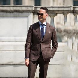 Men White Linen Casual Suits Australia - Summer Beach Brown Linen Men Suit Wedding Casual Man BLazer Jacket Pants Groom Tuxedos Notched Lapel 2Piece Prom Wear Groomsmen Blazers
