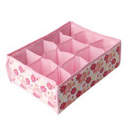 $enCountryForm.capitalKeyWord UK - 12 Grid Storage Box Bag Non-Woven Fabric Folding Case For Bra Socks Underwear Organizer For Cloth Print Storage