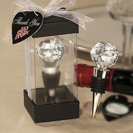 Discount ball shaped bottles - Wine Cork Stopper Romantic Crystal Ball Diamond Ring Shape Metal Bottle Stoppers Party Wedding Favor Gifts Bride Giveawa