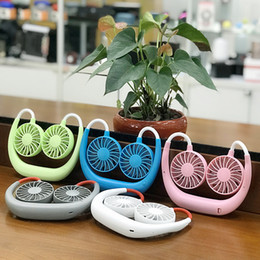travelling fan 2019 - Hanging Neck Fan 5 Colors USB Charging Travel Portable Sports Fan Lazy Creative Mini Fans Novelty Items OOA5546 cheap tr