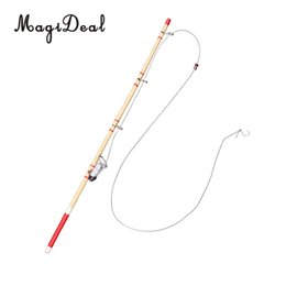 Wholesale 1Pc Scale Dollhouse Miniature Fishing Rod Fishing Pole for Dolls House Decor Kids Children Toy