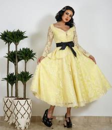 $enCountryForm.capitalKeyWord NZ - Yellow Long Sleeves Prom Dresses With Black Ribbon Belt Lace Tea Length Evening Gowns Saudi Arabia Women Formal Wear Custom Made Vestidos