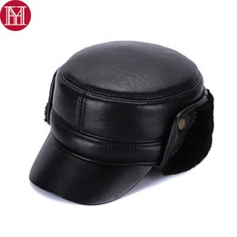 95ce633a0f9 New Winter Men 100% Genuine Real Wool Fur Baseball Caps Male Warm Thick Real  Sheep skin Leather Hats Leather Earflap Cap