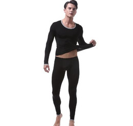 35b79165dc5f8e MILLYN top+pant winter thin ice silk undershirts trousers sexy mens home  sleepwear long johns mens thermal underwear sets M-XL