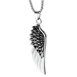 Mens angel necklace online shopping - New Fashion Men Angel Wings Pendant Stainless Steel Necklace Design cm Long Chain Punk Mens Hip Hop Jewelry Necklace for Men