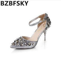 c8aa1da64082e4 Women high heels Mary Janes silver sequined flower crystal ankle strap  shoes strange style heels bling Rhinestone diamond Female