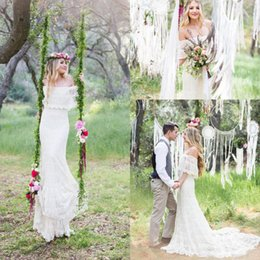 99dbbbe6cd Best selling t shirts online shopping - 2017 Mermaid Bohemia Wedding Dresses  Off Shoulder Full Lace