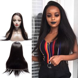 $enCountryForm.capitalKeyWord Australia - 360 Lace Frontal Wig Pre Plucked Natural Hairline With Baby Hair Brazilian Virgin Human Hair Silky Straight Ponytail Lace Wigs 180% Density
