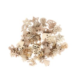 Gift Craft Christmas Ornament Australia - 50Pcs Christmas Carve Natural Wood Chip Ornaments Decorations Pendant Ornament With Hole Scrapbooking Embellishments Crafts Gift