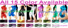 $enCountryForm.capitalKeyWord NZ - Sexy 15 Color Shiny Lycra Metallic Short Suit Catsuit Costumes Unisex Bodysuit Sexy Short Body Suit Costumes With Front Long Zipper DH017