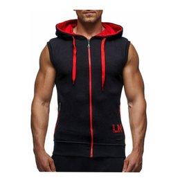 Wholesale men's tanks tops for sale - Group buy Brand Men s Vest Casual Hooded Vest Men To Join Men Fashion Zipper Sleeveless Hooded Tank Tops Bodybuilding Mens Vest