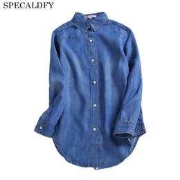 9daa2975f75 2018 Spring Autumn Denim Shirt Women Vintage Blouse Long Sleeve Fashion  Casual Jeans Blouses Womens Tops Blusa Feminina