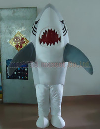 Shark maScot adultS online shopping - Grey shark mascot costume Adult Size shark luxury plush toy carnival party celebrates mascot factory sales