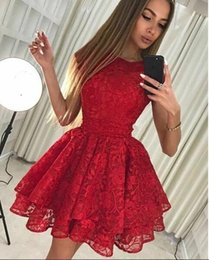Short Red Lace Prom Vintage Dress Australia - Mini 2019 Newest Red Lace Short African Prom Dresses Cocktail Party Dresses Sweet 15 Dresses Cheap