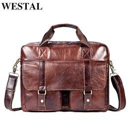 $enCountryForm.capitalKeyWord NZ - WESTAL Genuine Leather Men Shoulder Bag Mens Bags Male Briefcase Laptop Bag Leather Handbags Totes Crossbody Messenger Bags 7804 Y18102604