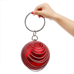 bags chain handles 2019 - New Women Handbags With Handle Metal Diamonds Evening Bags Beaded Spherical With Chain Design Wedding Party Purse Dinner