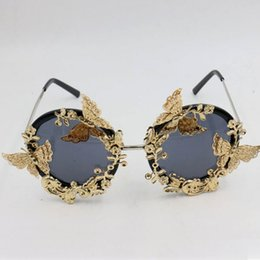 folding sunglasses 2018 - Fashion Vintage Butterfly Fold Women Sunglasses Go Show Street Pat Round Metal Personality Glasses For Outdoor Beach 35