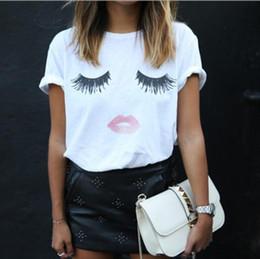 $enCountryForm.capitalKeyWord NZ - Street hipster eyelashes Red lips pattern fashion t-shirts Printed women's casual wild short-sleeved shirts