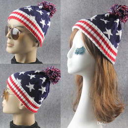 f051d879 For Men And Women Skull Caps With Big Hair Balls Jacquard Weave Beanie Star  Flags Pattern Wool Knitting Hats Creative 8 3lm B