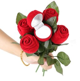 Wholesale Boxes Packaging Australia - Gift Wedding Boxes Rose Shaped Ring Box Mini Cute Red Carrying Cases For Rings Hot Sale Display Box Jewelry Packaging Gift Boxes