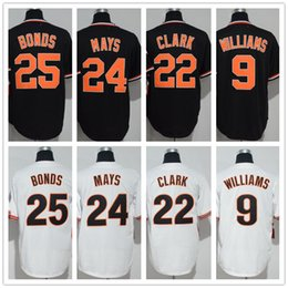 d04076a0 2018 Men's SF 24 Willie Mays 25 Barry Bonds 22 Will Clark 9 Williams Black  White Cool Base Giants Baseball Jerseys Top Quality Cheap