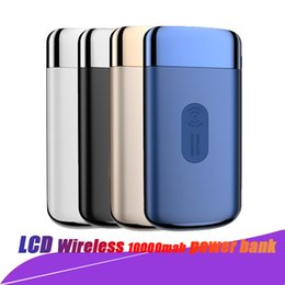Chinese  10000mAh QI Wireless Charger Power Bank For iPhone X 8 LCD Dual USB Battery Charger Wireless Powerbank with LED For Samsung with Retail Box manufacturers